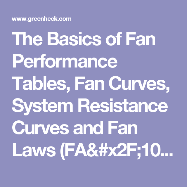 The Basics of Fan Performance Tables, Fan Curves, System