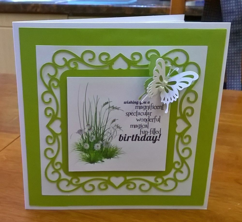Ladies female girl large 8 x 8 handmade birthday card with butterfly.