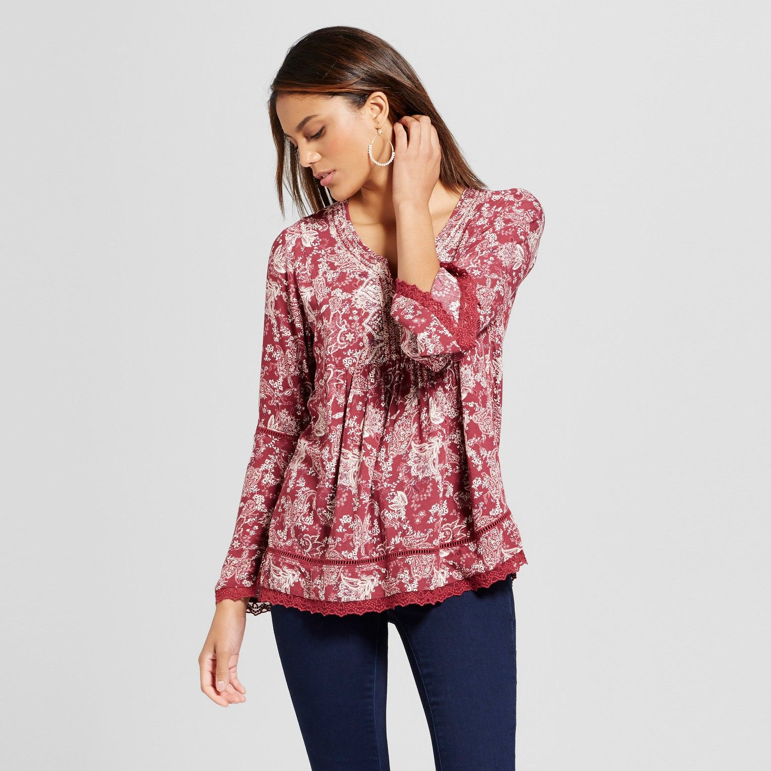 Knox Rose™ Wine Embroidered Bell Sleeve Peasant Top - $28 ...