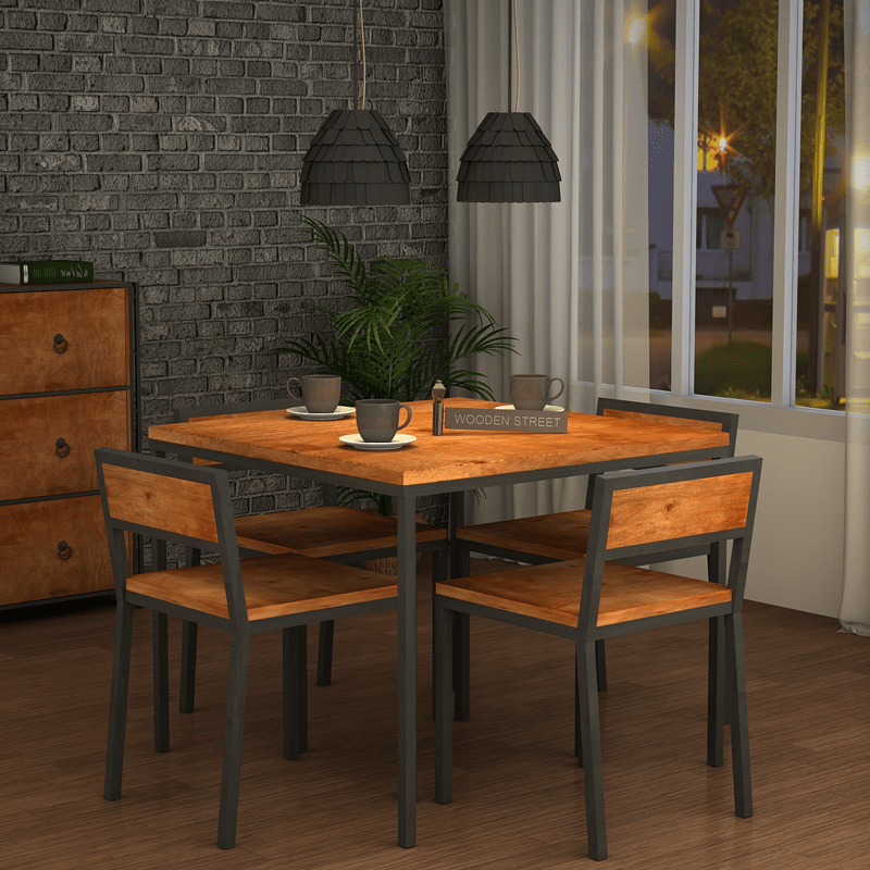 Buy Olay 4 Seater Loft Dining Set Natural Finish Online In India Wooden Street 4 Seater Dining Table Dining Set Wooden Street