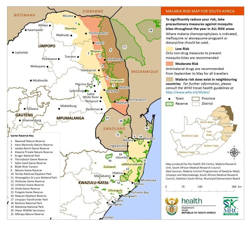 Malaria Risk Map For South Africa 2018 The South African