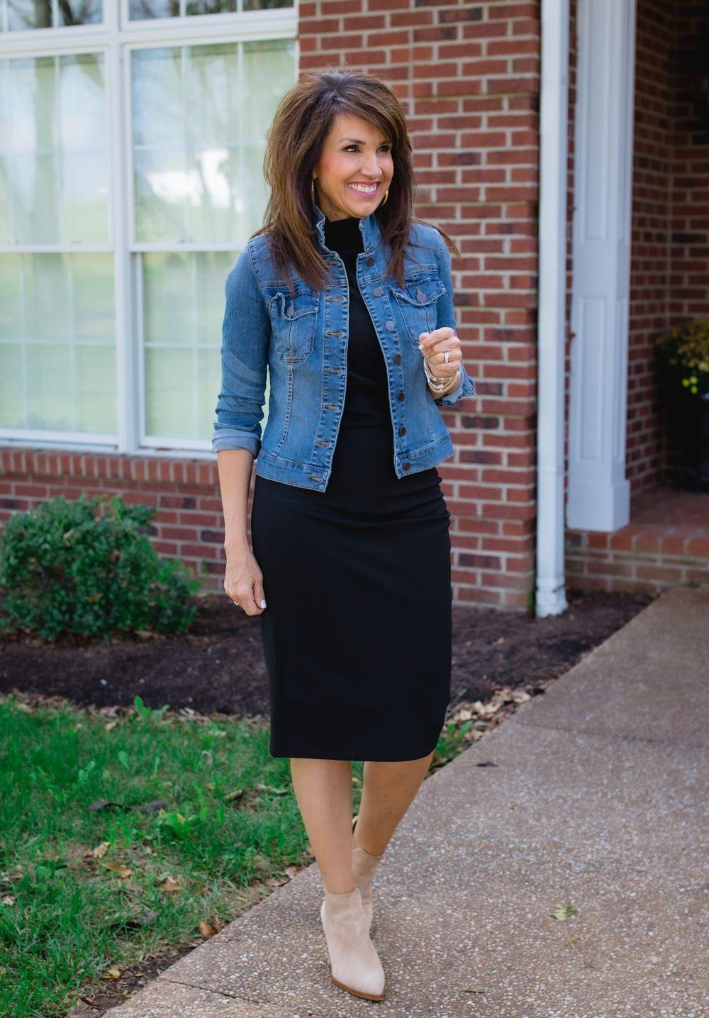 3 Ways To Wear A Black Midi Dress Cyndi Spivey Midi Dress Outfit Fall Fall Dress Outfit Black Dress Jacket [ 1435 x 1000 Pixel ]