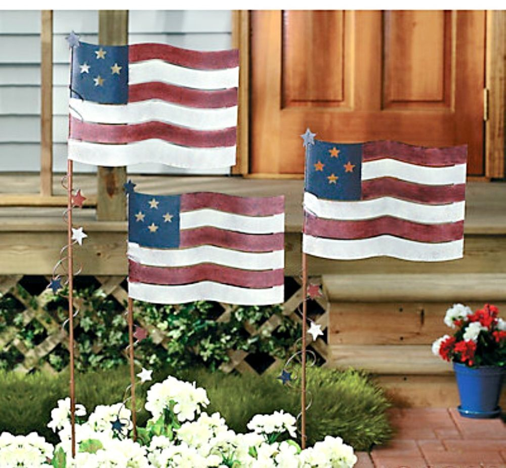 Set of 9 Metal Flag Yard Garden Stakes Americana Patriotic Labor
