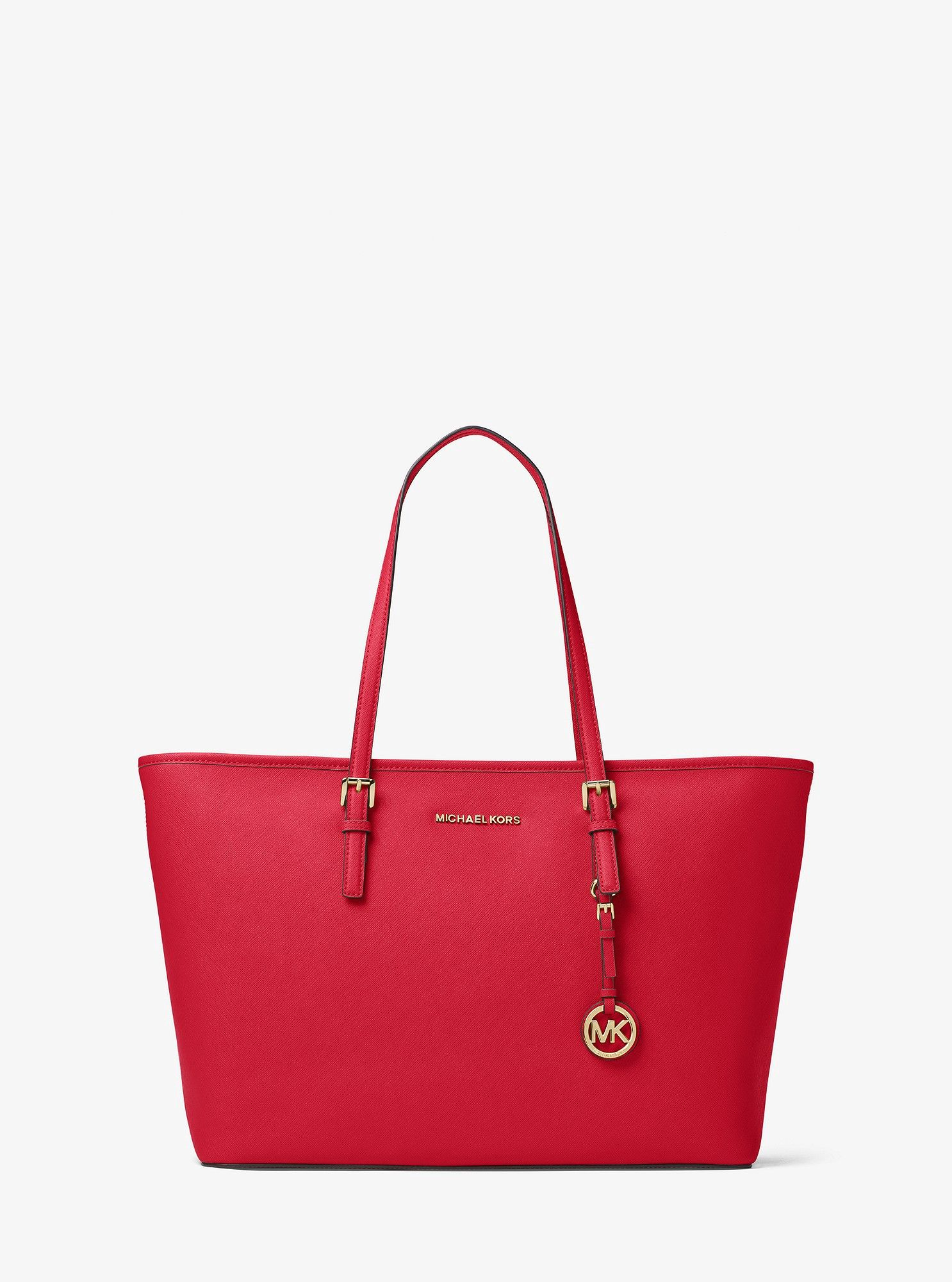 a33670b2c00e43 Michael Kors Jet Set Travel Medium Saffiano Leather Top-Zip Tote - Bright  Red