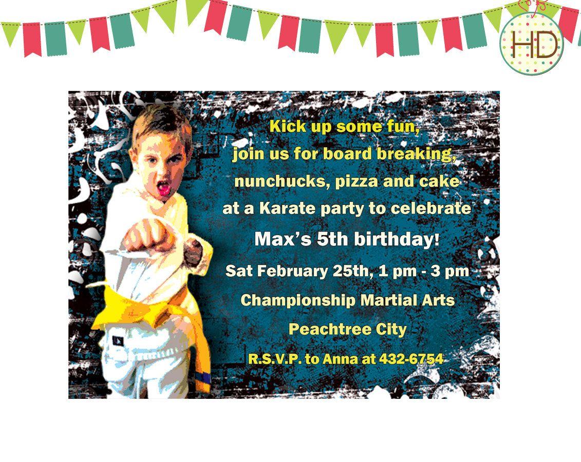 Karate Birthday Invitations For Kids Joseph