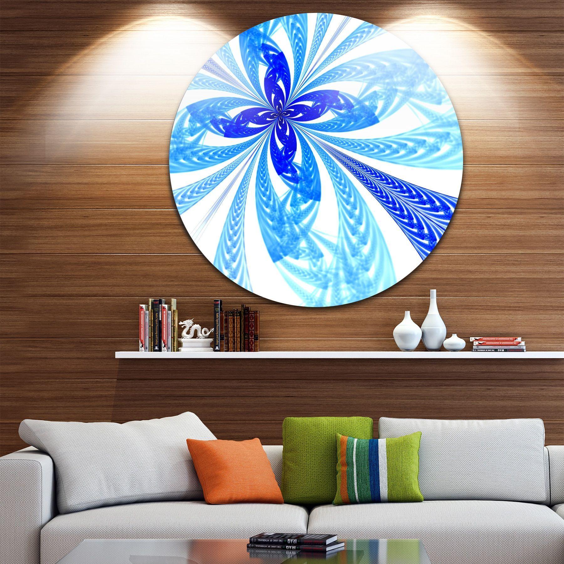 Designart ublue long petal fractal floweru floral disc metal wall