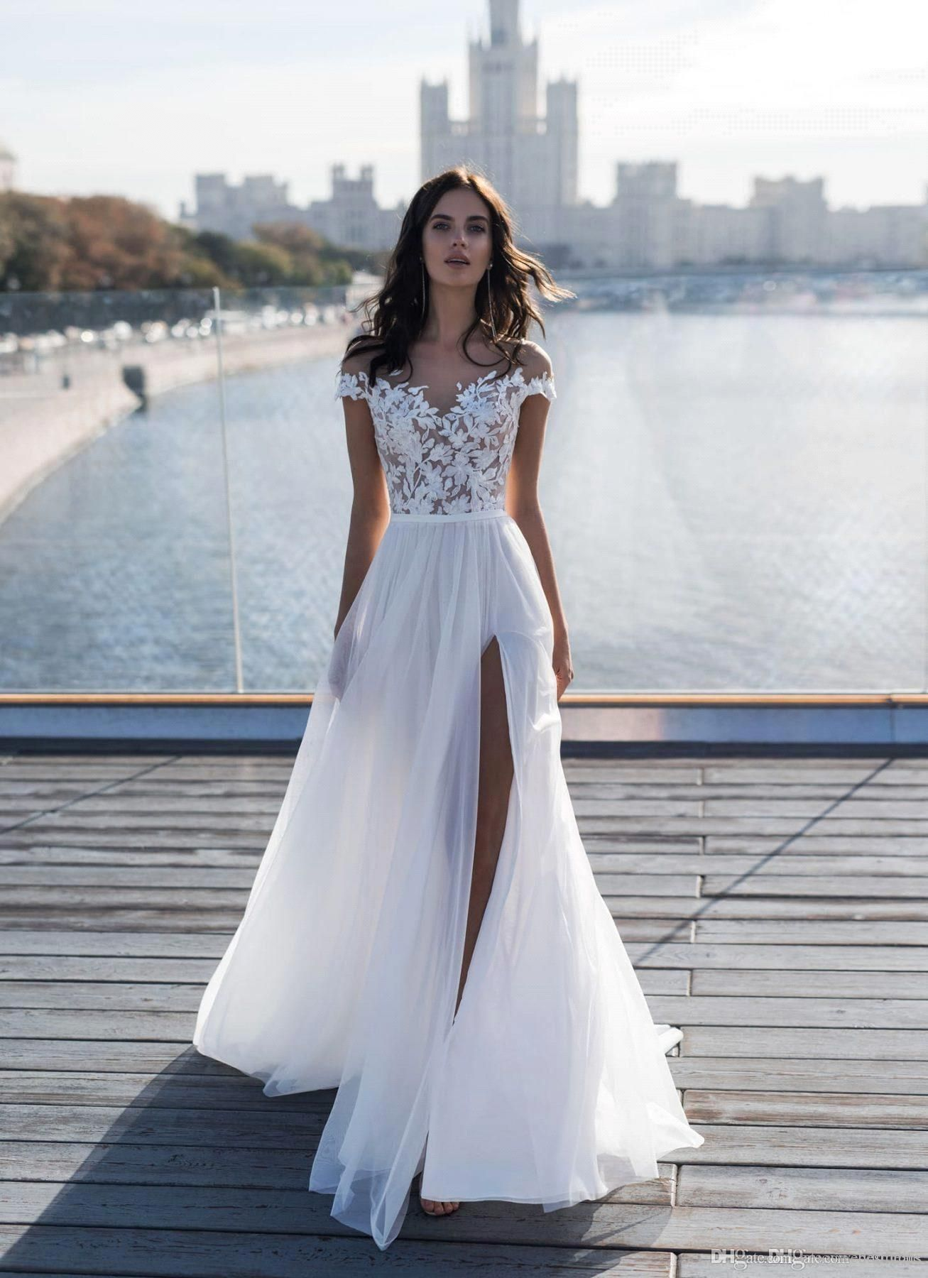 Discount2019 New Capped Sleeves Lace Top Wedding Dresses Sheer Neck A Line Chiffon Summer Beach Side Split Wedding Gowns From Enjoyweddinglife 125 97 Dhgate Lace Top Wedding Dress Lace Top Wedding [ 1800 x 1307 Pixel ]