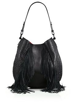f9fc7f1ba05 Christian Louboutin - Lucky L Fringed Pebbled Leather Hobo Bag ...