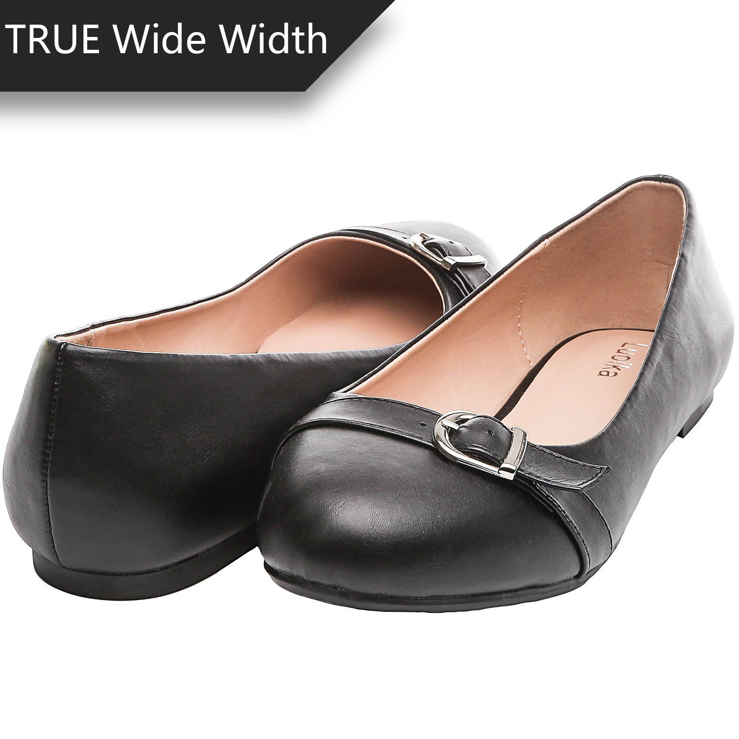 016d9e1e5fe61 Amazon.com | Luoika Women's Wide Width Flat Shoes - Comfortable Slip ...