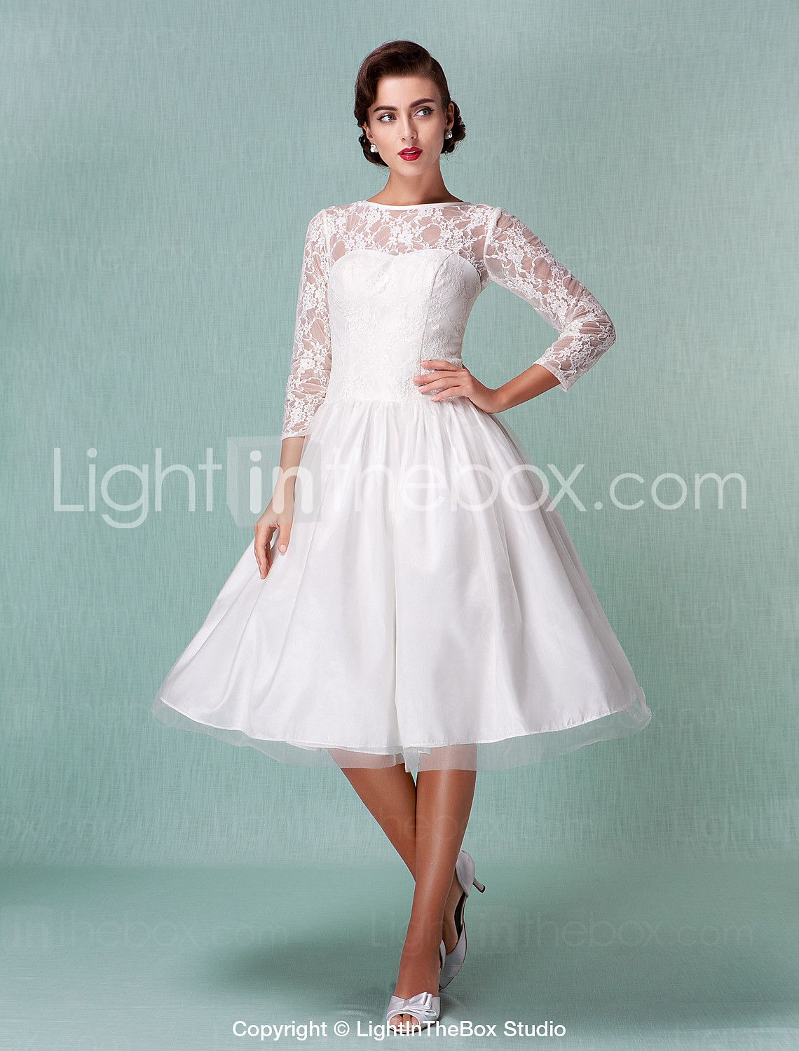 A-Line Illusion Neckline Knee Length Lace Tulle Wedding Dress with ...