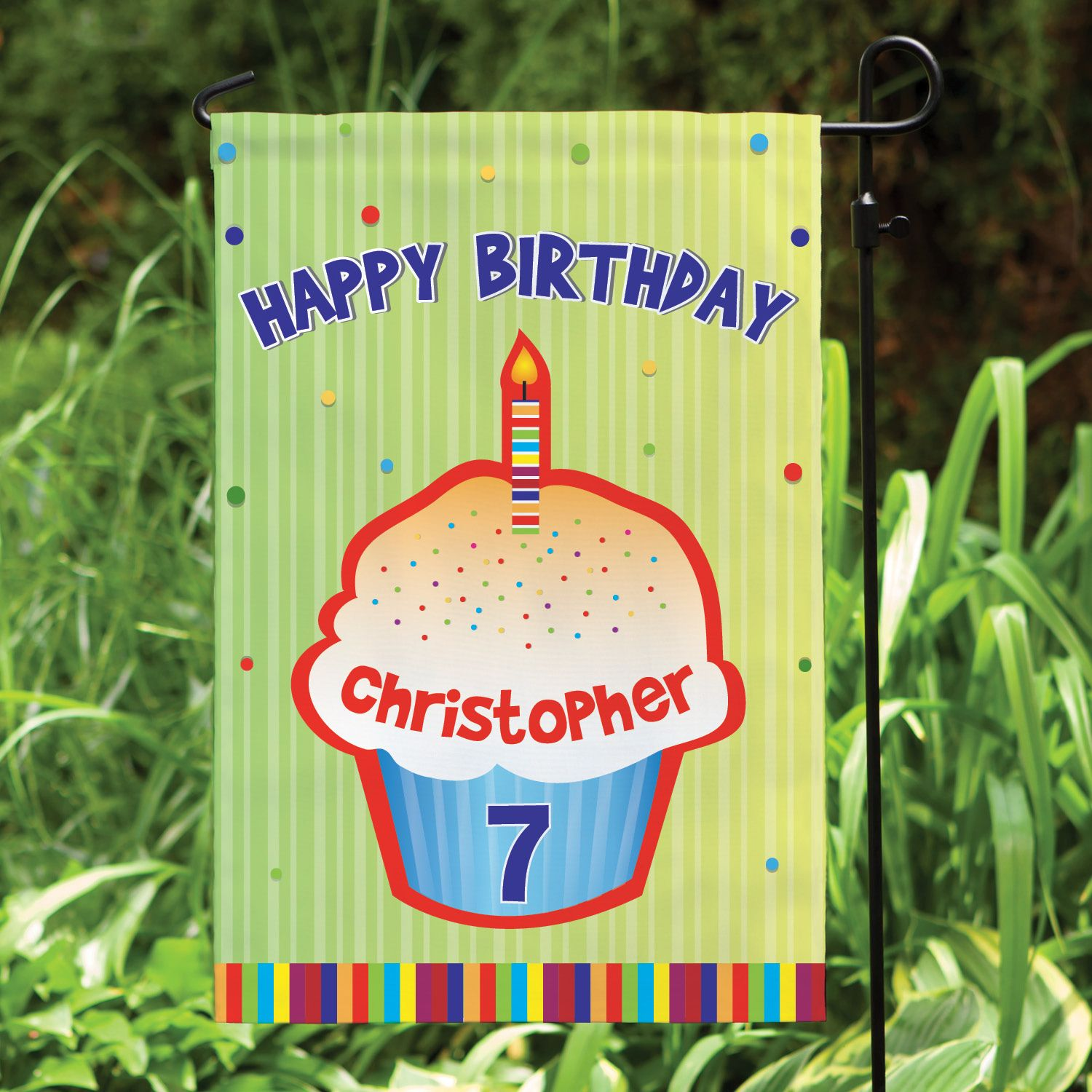 Celebrate Your Little One S Birthday With This Colorful Garden Flag Personalized Garden Flag Pink Happy Birthday Personalized Birthday Banners