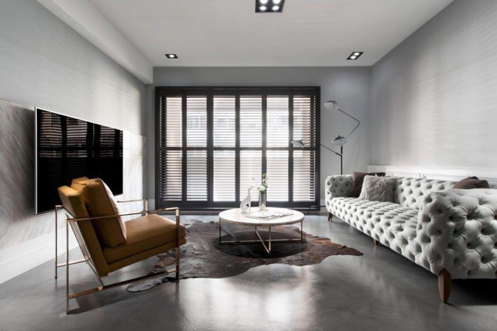 Minimalistisch modern en klassiek chique woonkamer
