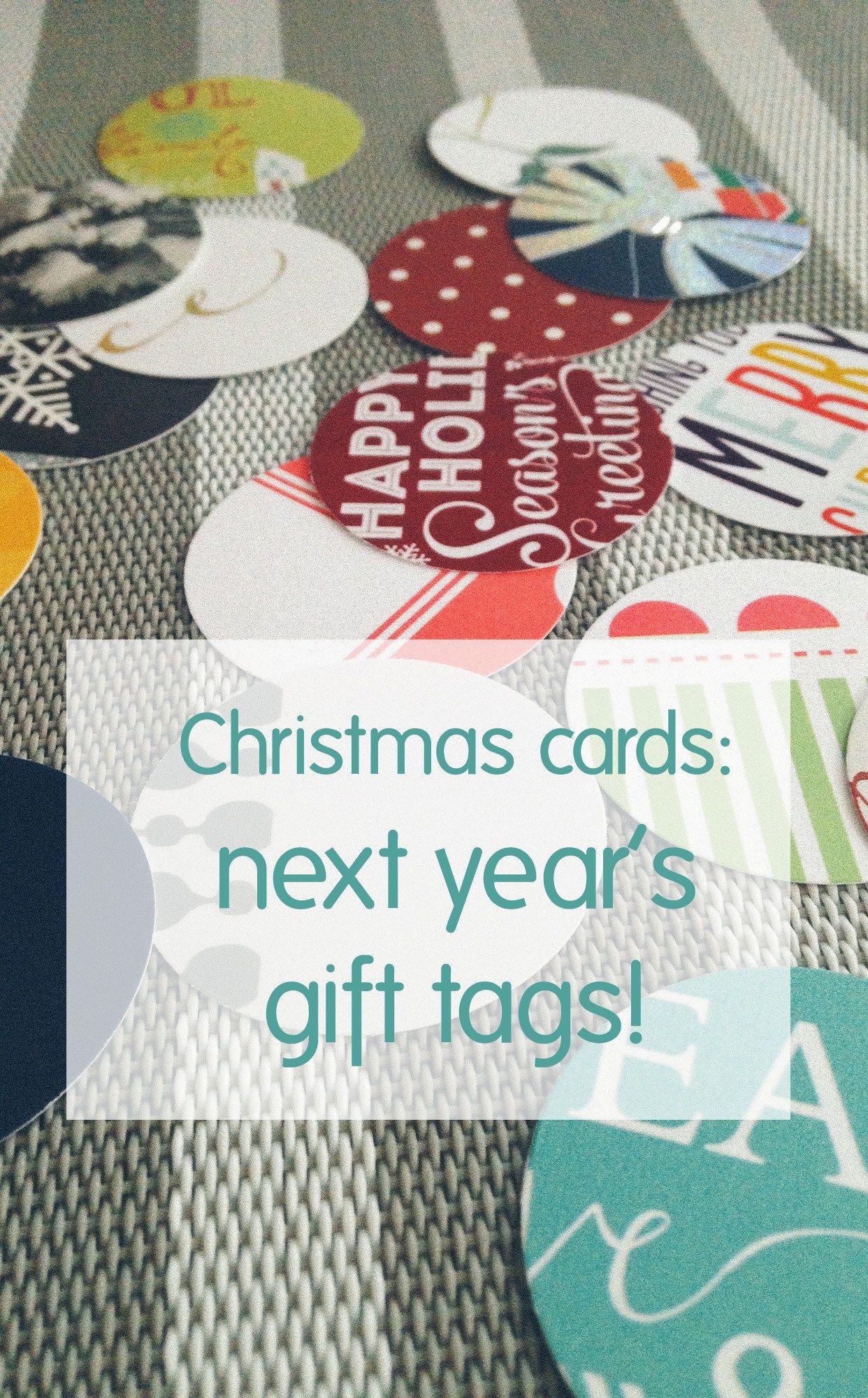 Christmas card reuse gift tags recycle christmas cards