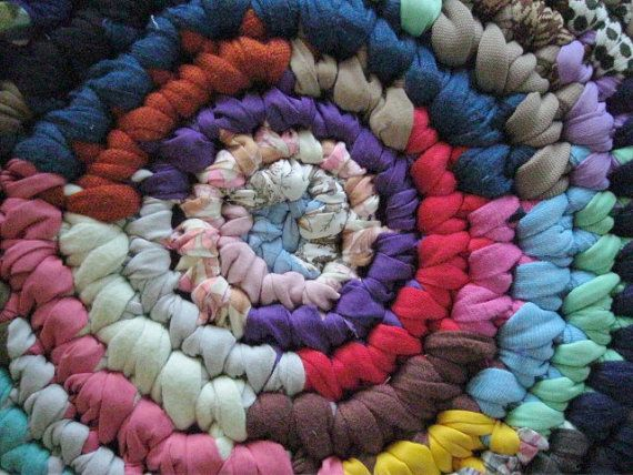 Hit and Miss Crochet Round Rag Rug by mrsginther on Etsy, $89.00