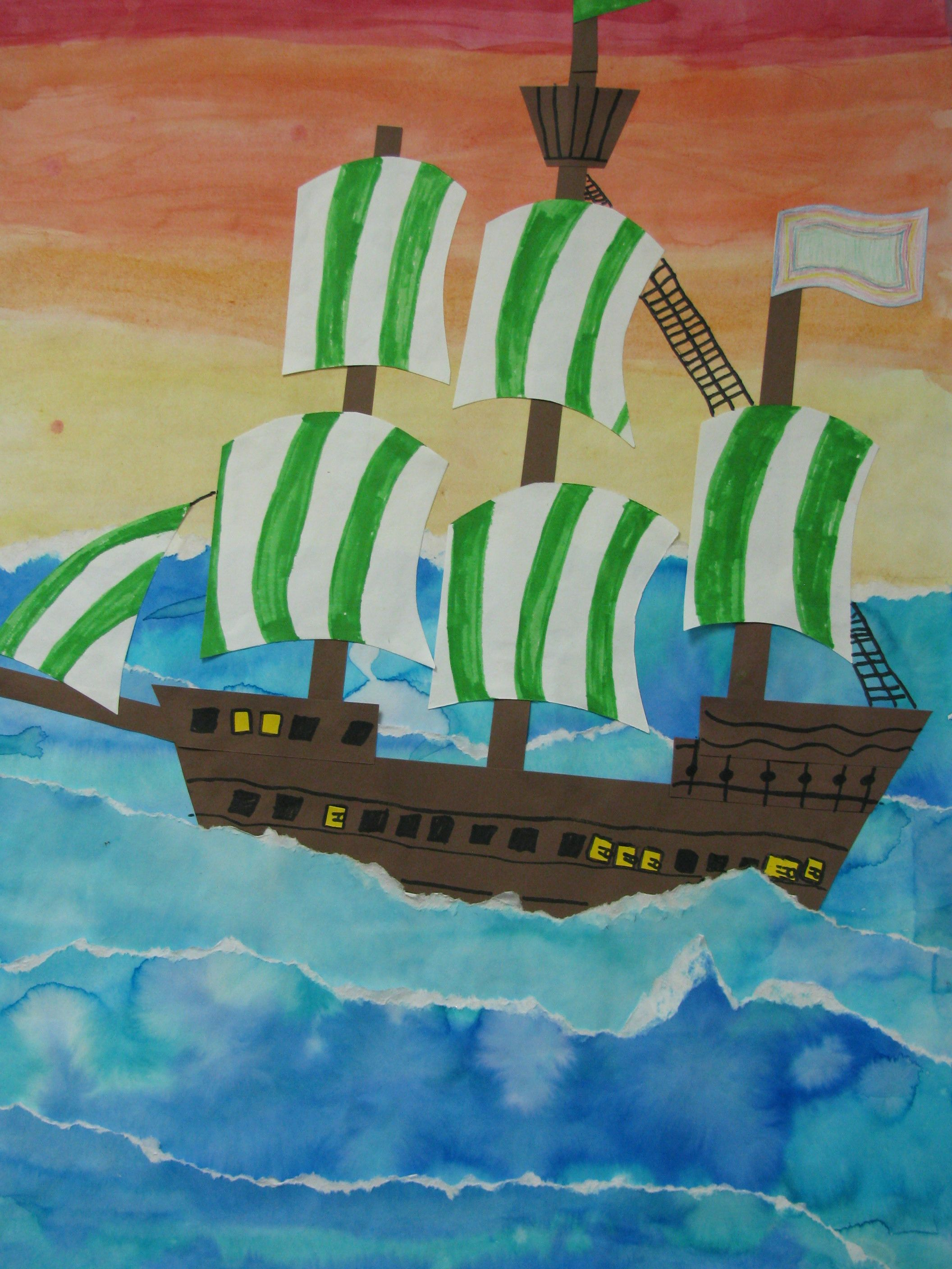4th grade watercolor collage pirate ship painting 22 x28 for Ez craft usa vinyl