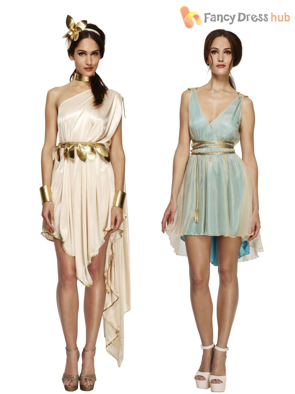 b434ae6a5 Ladies Fever Greek Roman Grecian Goddess Toga Fancy Dress Costume ...