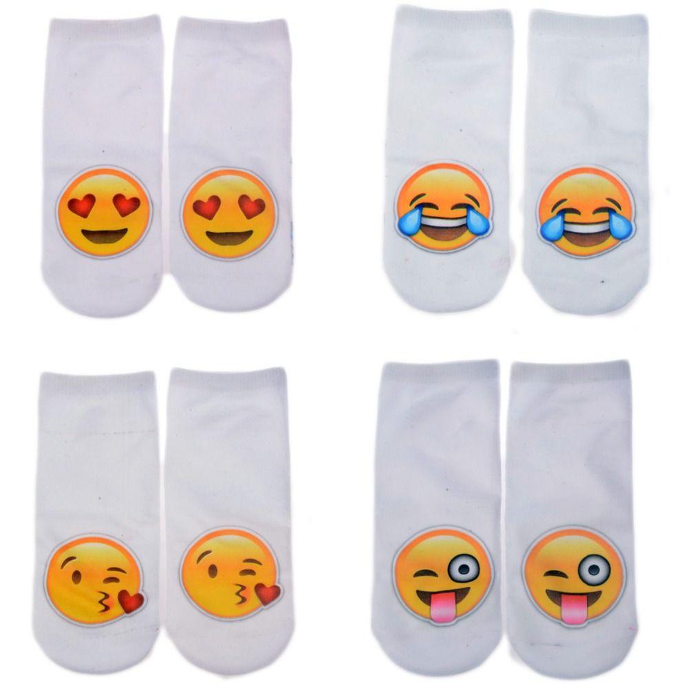 Cheap Blanco de verano calcetines 11 tipos Emoji patrones divertido ...