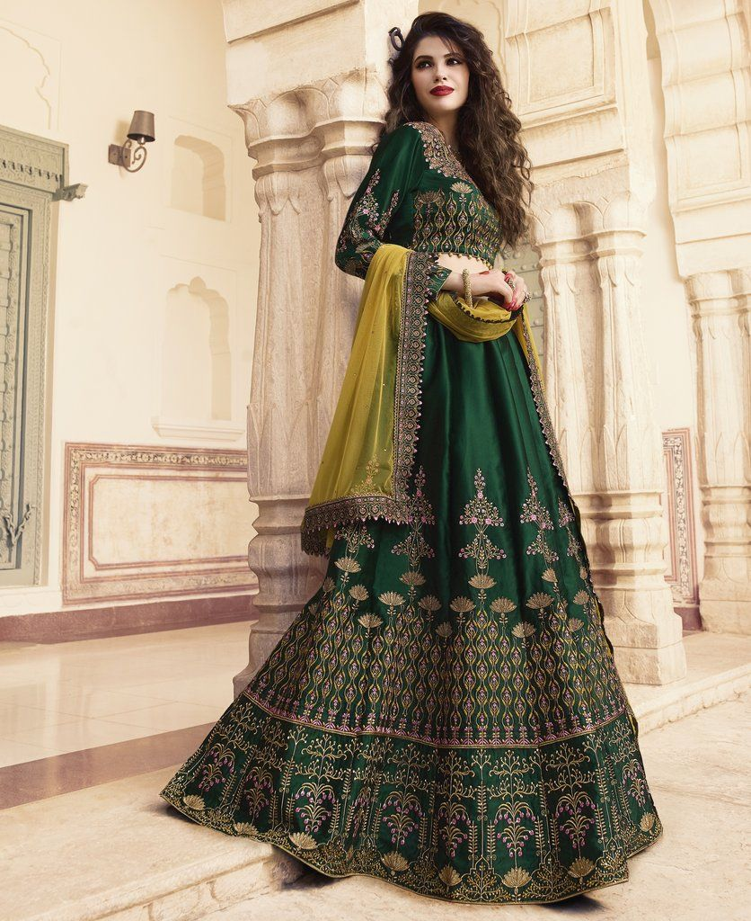 bbad1187c2e1 Pine Green Embroidered Silk Designer Lehenga Choli (Semi-Stitched) # lehengacholi #lehenga #lehengas #choli #blouse #Bridal #designer #zari  #emroidered ...
