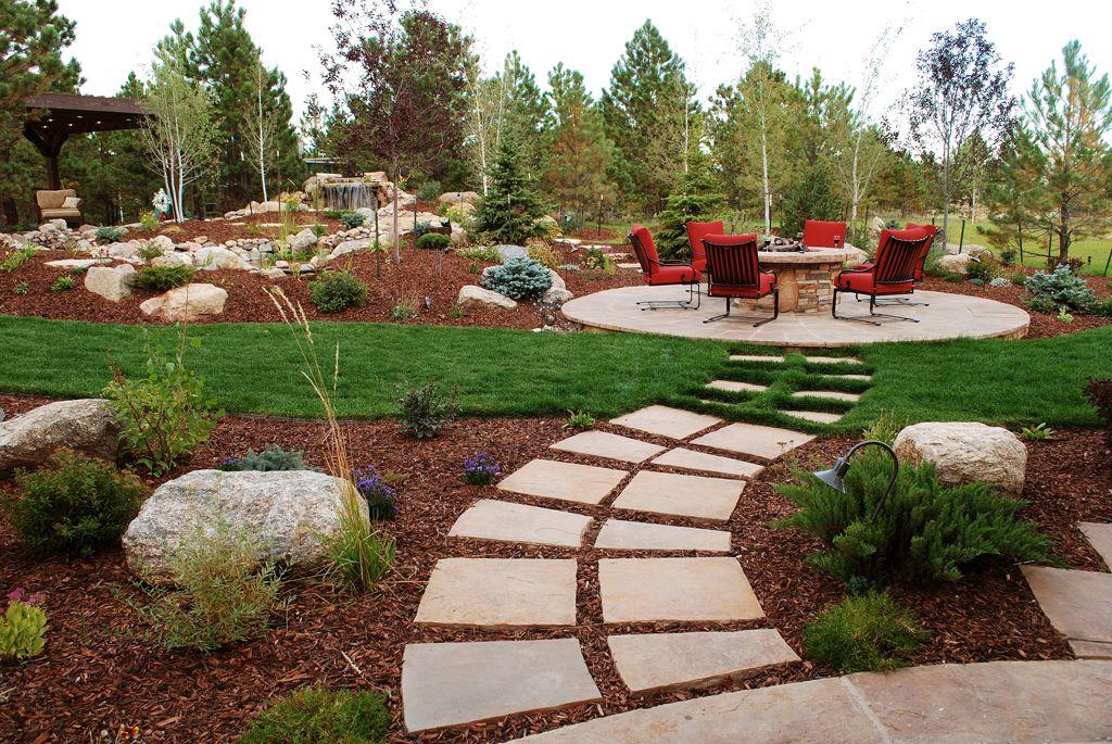 Radial Stone Walk To Circular Patio Garden Patio