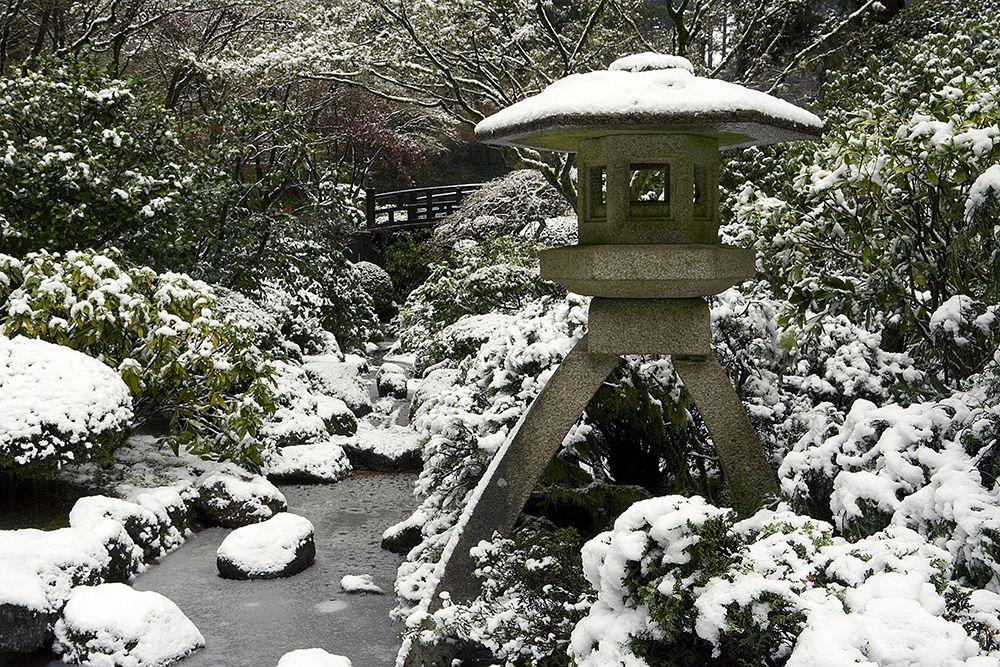 Harp Tuner Lantern In Snow Portland Japanese Garden Japanese Garden Winter Garden