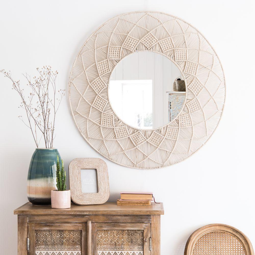 Round White Macrame Mirror D92