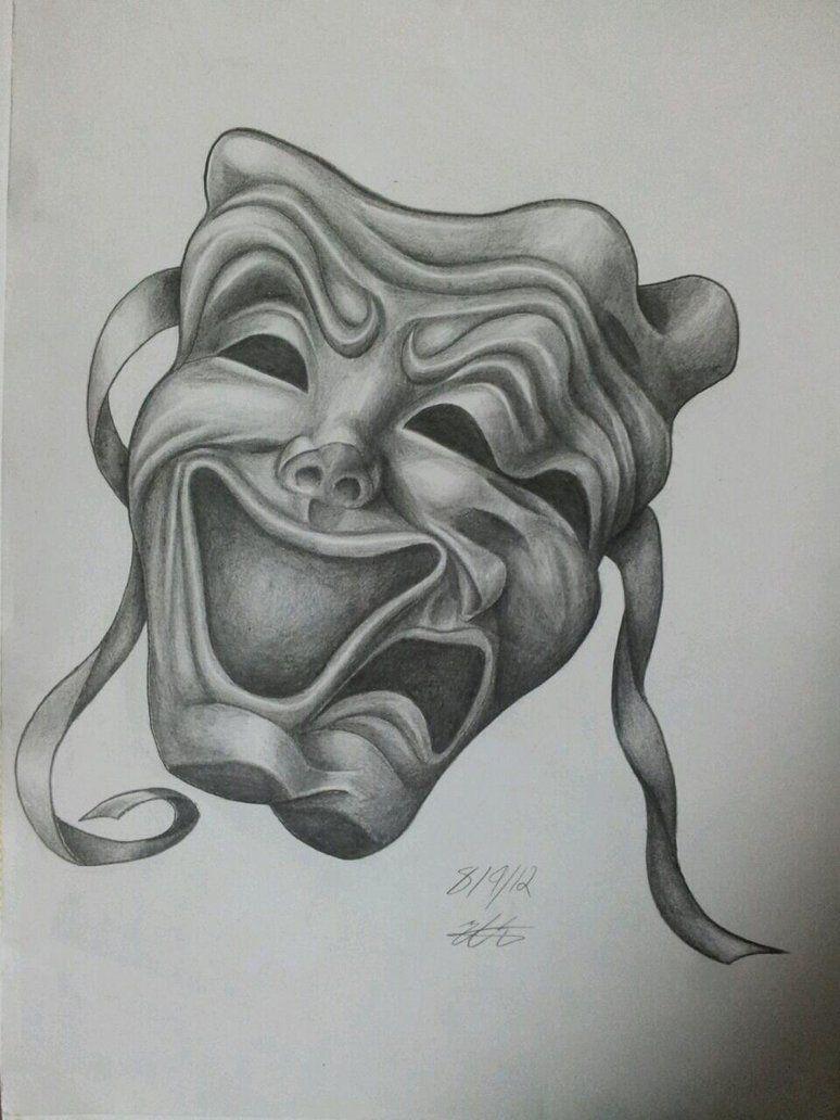 Happy and sad face masks happy and sad face tattoos - Drama Mask Drawings