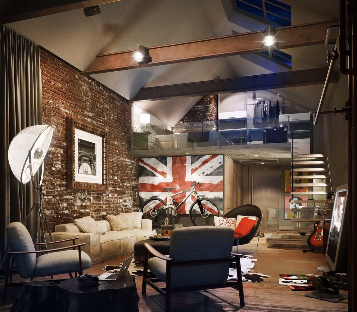 Loft Style Google Search Loft Style Pinterest Lofts Attic - A loft with industrial design by russian designer maxim zhukov