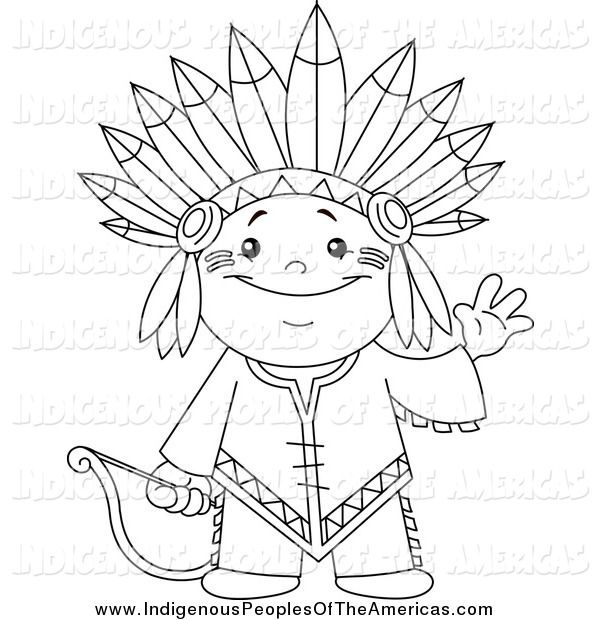 Native Americans Clipart Black And White Vector Cartoon ...