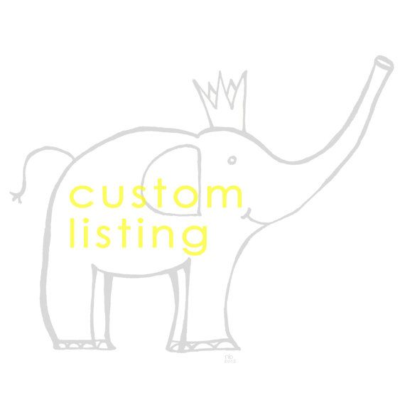 Custom Listing: Elephant Illustration/Design for 1st Birthday Party ... just another one of the products I offer.