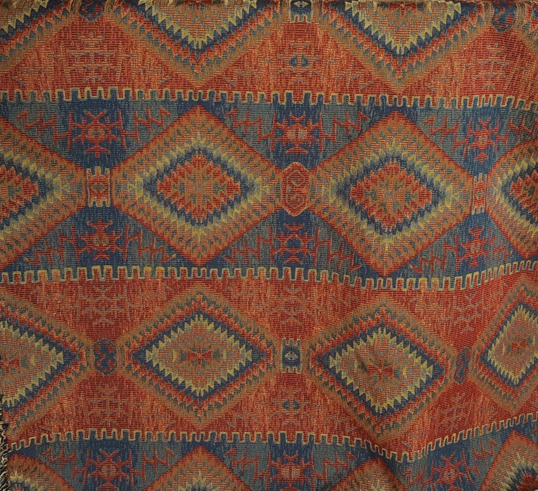 Southwest Western Geometric Orange Rust Blue Heavy Upholstery Fabric