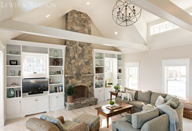 Benjamin Moore Oc 20 Pale Oak Great Room With Stone Fireplace And