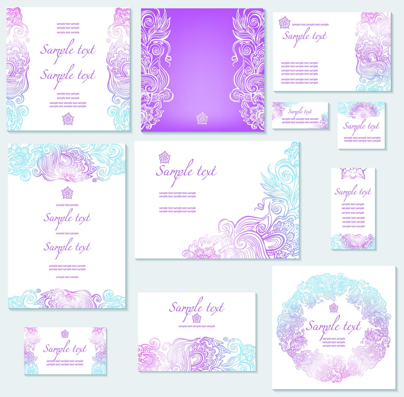 Wedding invitations templates template of wedding invitation free set of vector template of wedding invitation olorful template for wedding invitation cards with different ornaments ornate borders frames stopboris Gallery