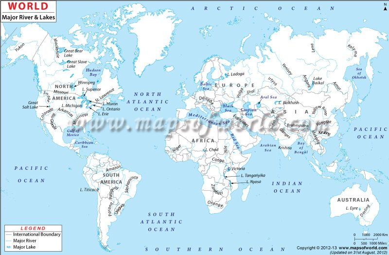 WorldRiver #Map shows the major rivers and lakes around the world ...