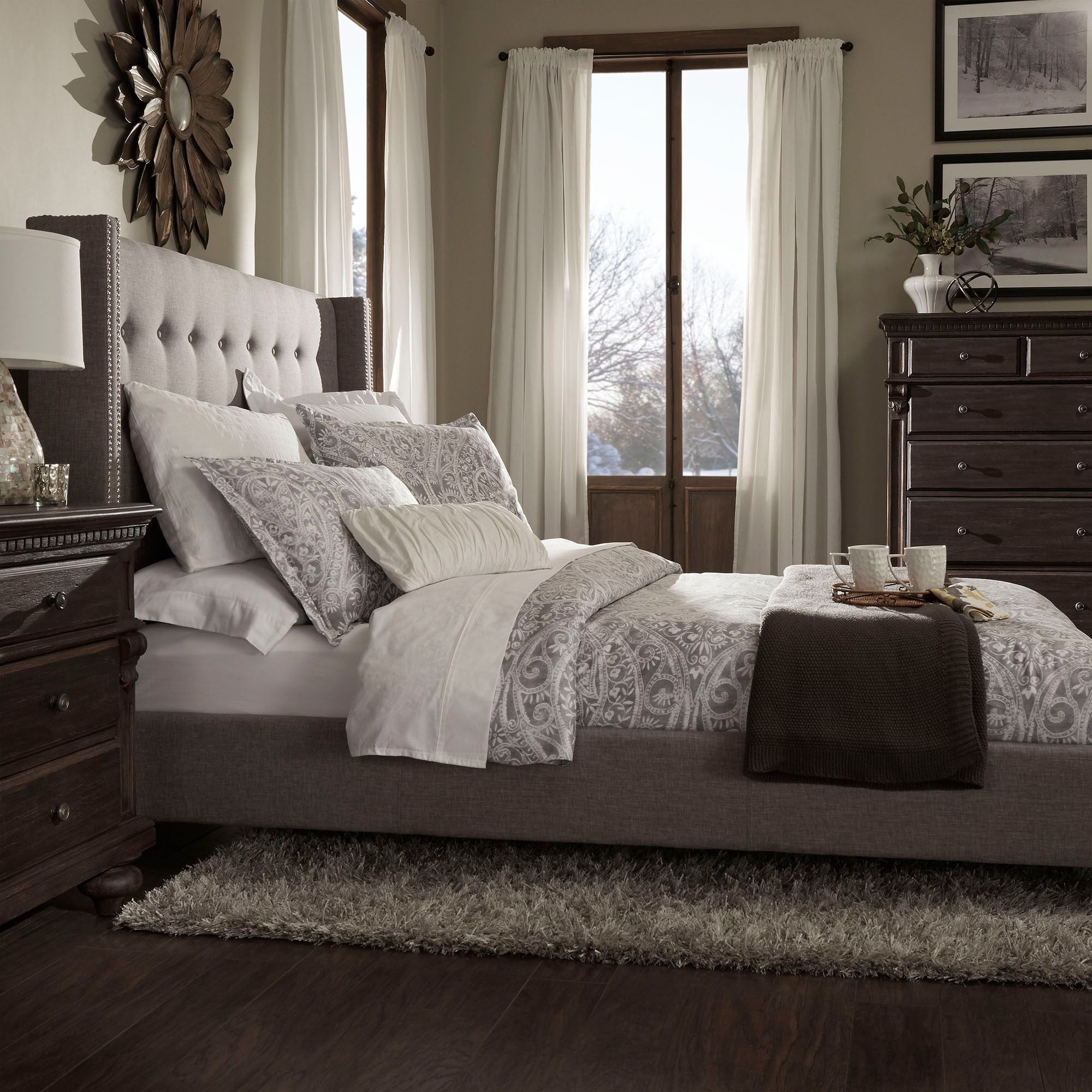 Marion Nailhead Wingback Tufted Upholstered King Bed by iNSPIRE Q Bold by  INSPIRE Q
