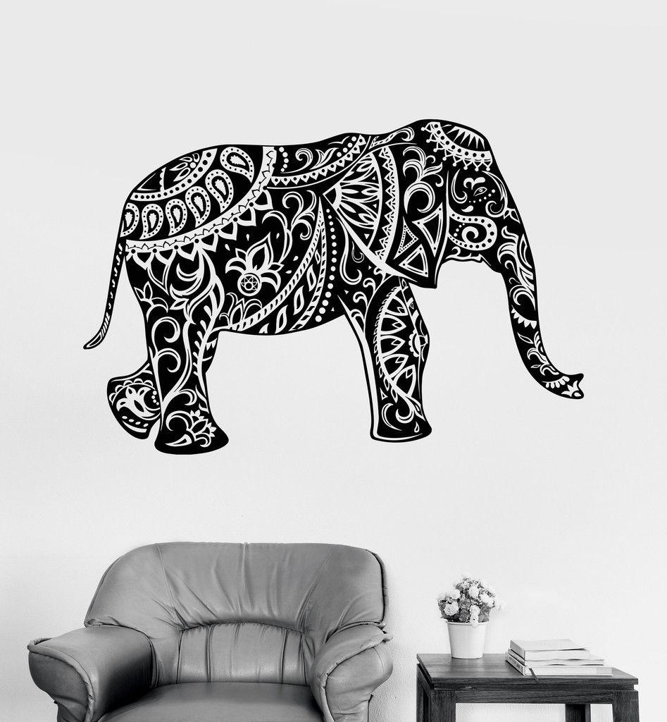 Vinyl wall decal elephant ornament animal tribal decor stickers vinyl wall decal elephant ornament animal tribal decor stickers ig3534 amipublicfo Choice Image