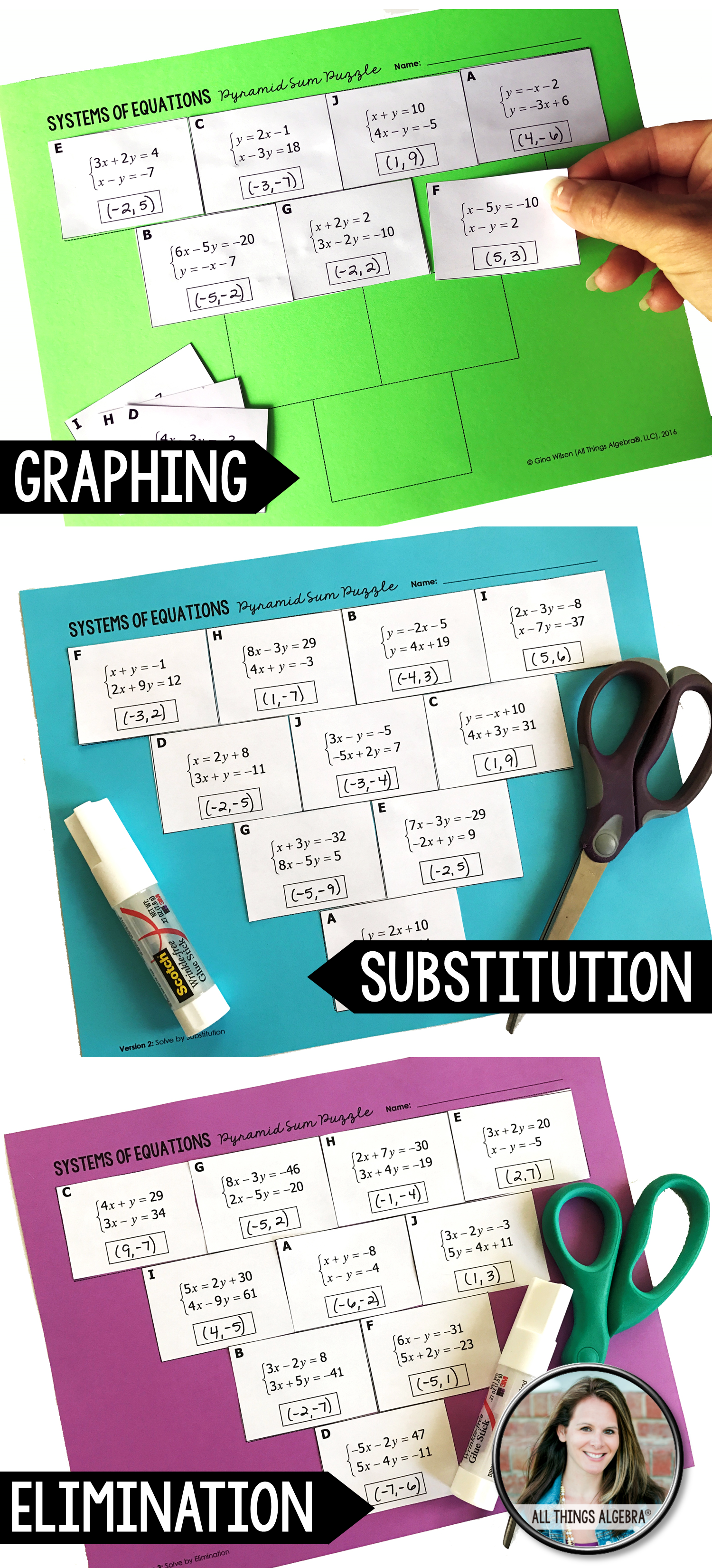 Systems of Equations Pyramid Sum Puzzles (3 puzzles