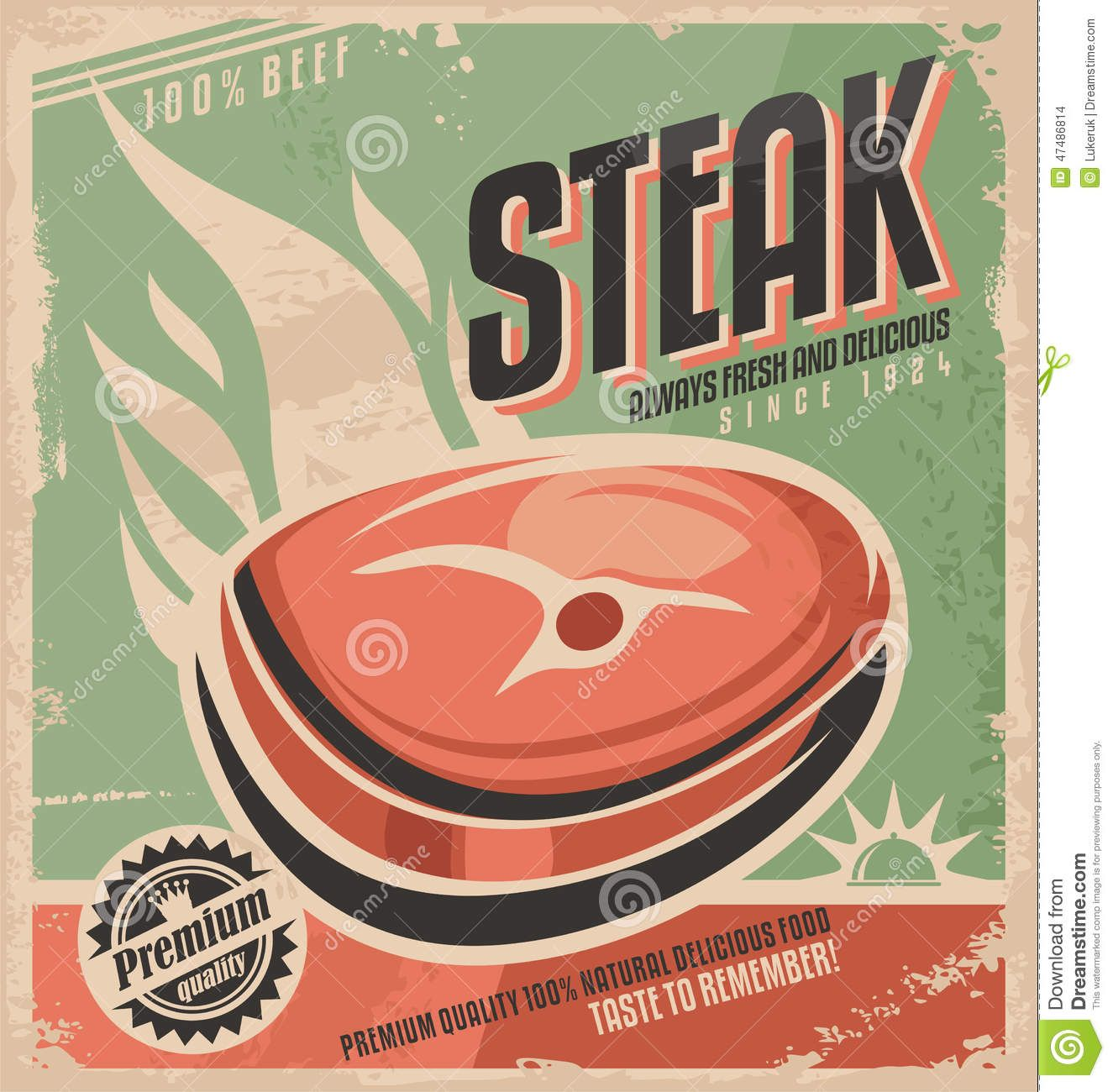 Steak Retro Poster Design Vintage Restaurant Menu Template