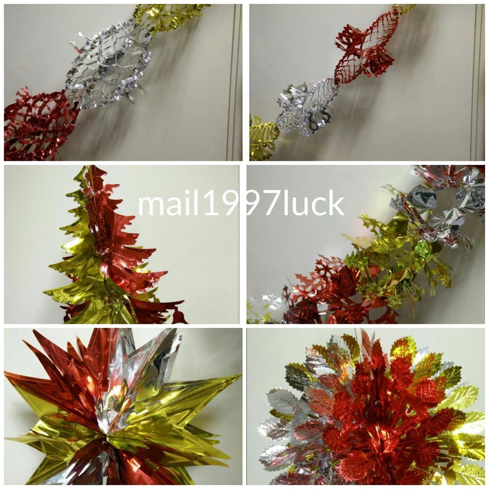 christmas foil ceiling decorations garlands stars bell snowflakes muticolour - Christmas Ceiling Decorations