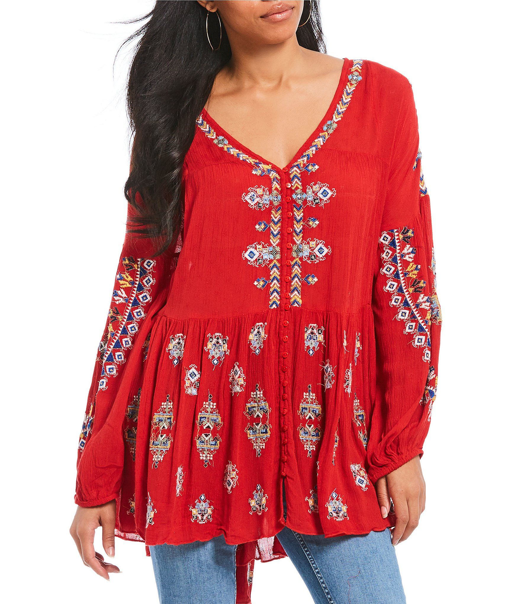 226d3ef59ec Free People Arianna Woven Embroidered Balloon Sleeve Tunic Top #Dillards