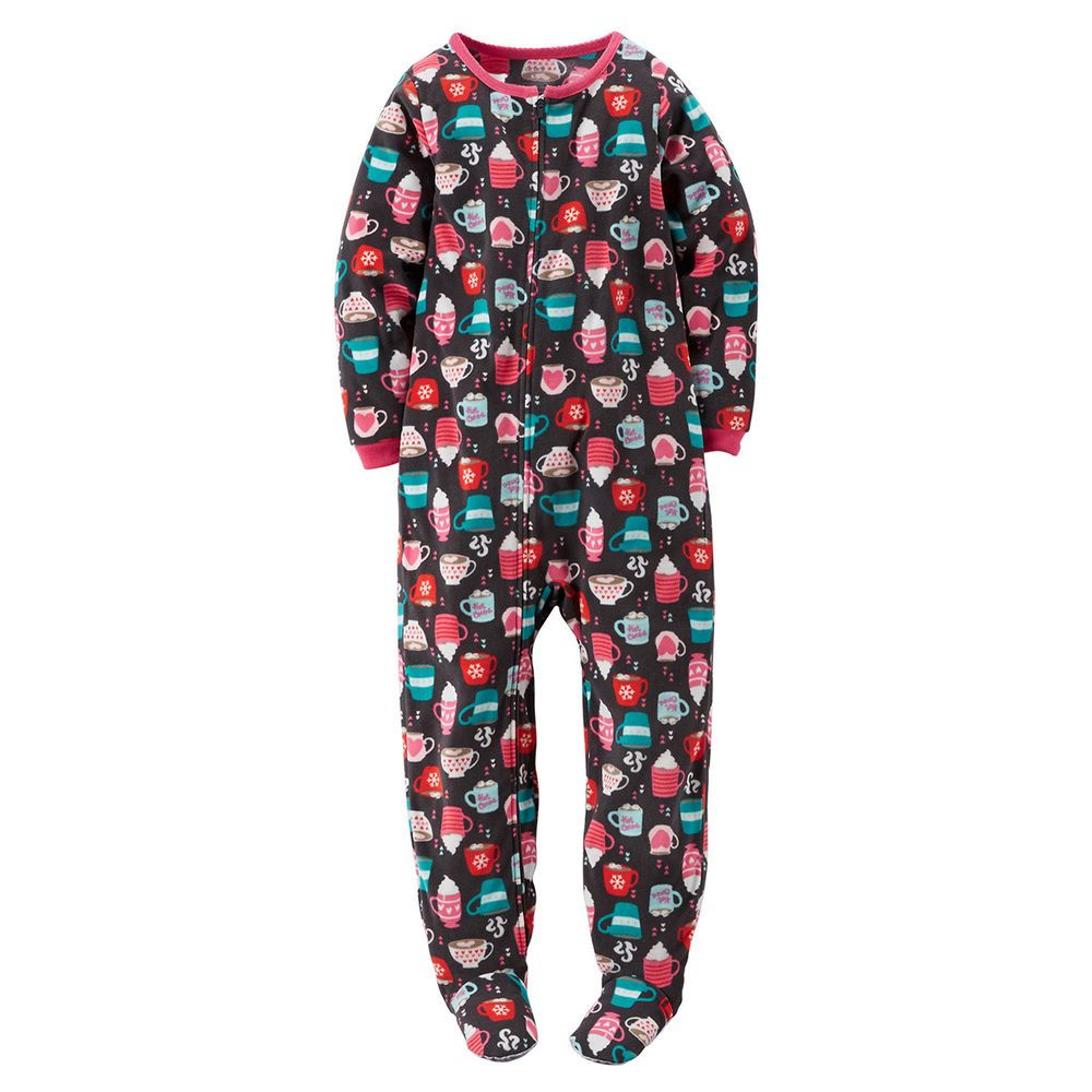 aa02056f9273 Carter s Girls Toddler 3T Cocoa Print Microfleece Footed Pajama NWT ...