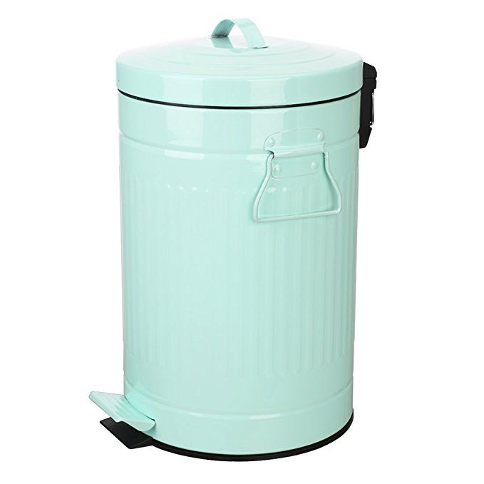 mint green trash can with lid, turquoise bathroom and
