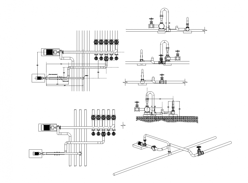 Water distribution plumbing system detail 2d view autocad