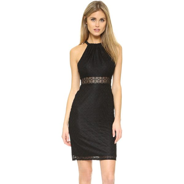 Ali & Jay Lace Halter Dress (395 QAR) ❤ liked on Polyvore featuring dresses, black, sleeveless lace dress, sleeveless cocktail dress, high neck lace dress, halter dress and pleated halter dress