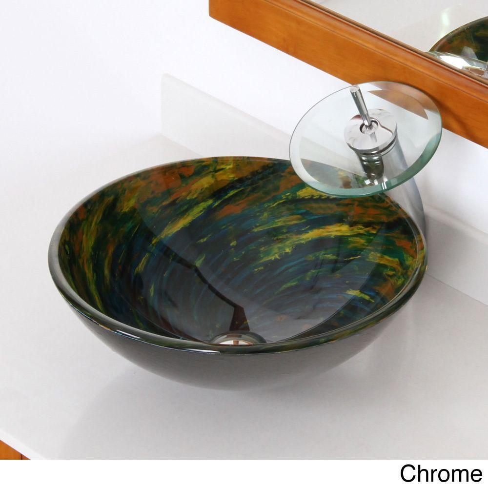 Elite Modern Design Tempered Glass Bathroom Vessel Sink and ...
