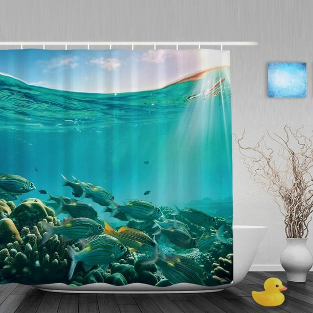 Tropical Sea Creatures Bathroom Shower Curtain Coral Reef Fish