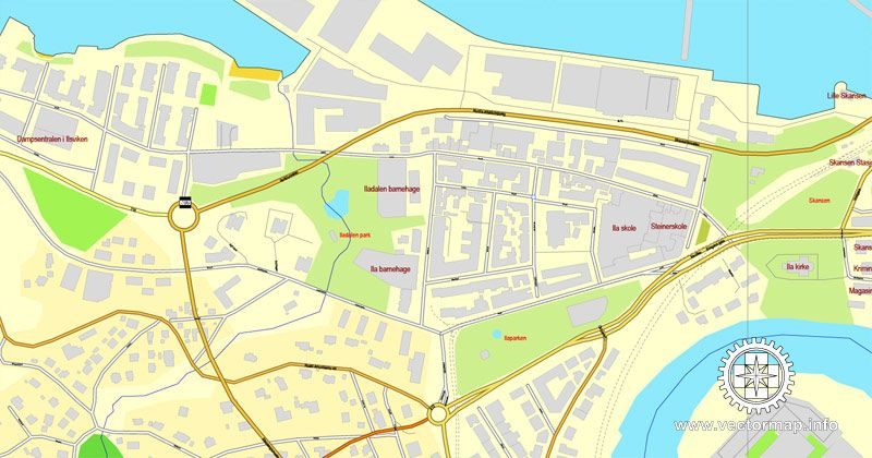Trondheim Norway printable vector street map City Plan fully