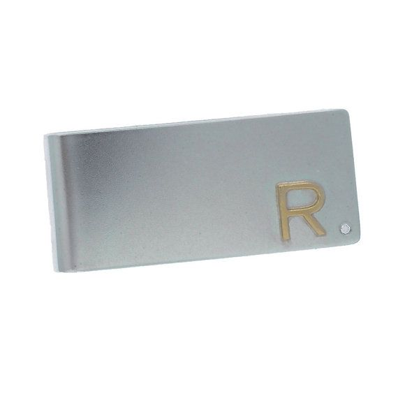 Sterling Silver Money Clip with Diamond and 14k Gold Accent Personalized Men's Jewelry Accessories Valentine's Day Gift for Him