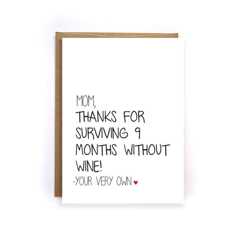 Funny thank you mom wine card unique mothers day card