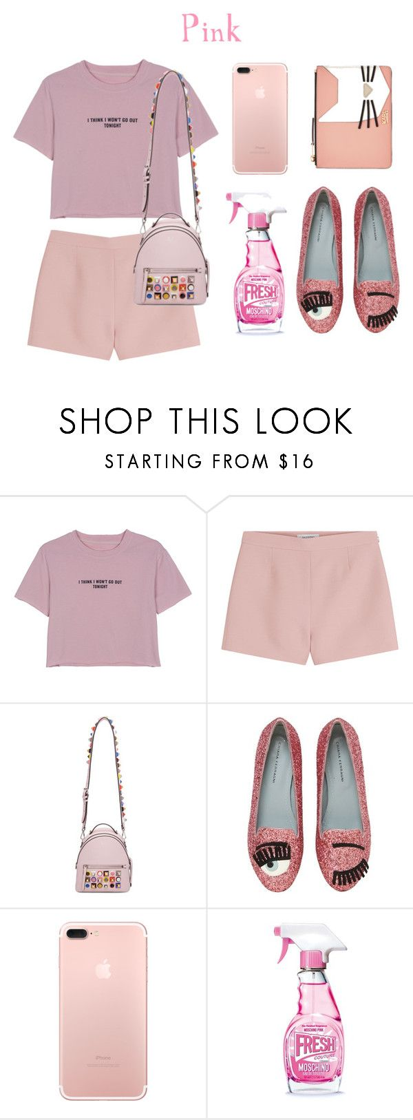 """PInk but different colors of pink"" by rose0810-1 ❤ liked on Polyvore featuring WithChic, Valentino, Fendi, Chiara Ferragni, Moschino and Karl Lagerfeld"