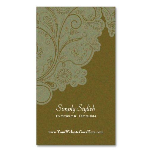 Olive Green Swirls Interior Designer Business Card